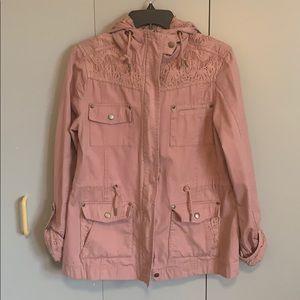 American Rag hooded eyelet utility jacket